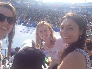 At the Moon court watching Nadal. Grins all round!