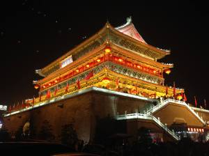The magnificent Drum Tower at night