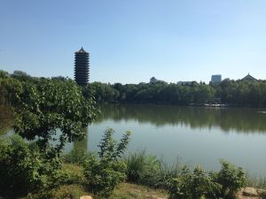 Wei Ming Lake and the Boya Pagoda (the tallest building on campus)